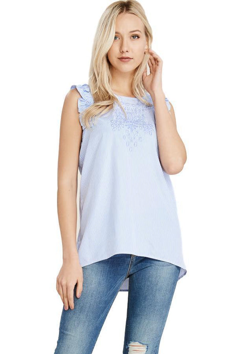Baby Blue and White Striped Embroidered Top - - - Women's Sleeveless - Snips and Snails Boutique