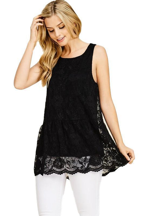 Black and Lacey Sleeveless Tunic Top - - - Women's Sleeveless - Snips and Snails Boutique
