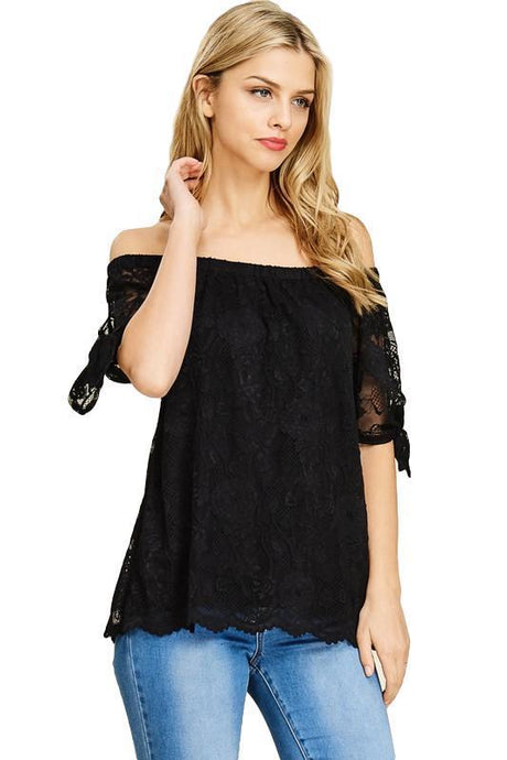 Black Lace Off the Shoulder Tie Top - - - Women's Short Sleeve - Snips and Snails Boutique