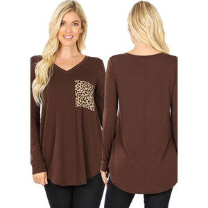 Long Sleeve V-Neck Leopard Print Pocket Top -AMERICANO / Small -AMERICANO - Women's Long Sleeve - Snips and Snails Boutique