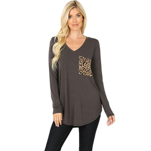 Long Sleeve V-Neck Leopard Print Pocket Top -ASH GREY / Small -ASH GREY - Women's Long Sleeve - Snips and Snails Boutique