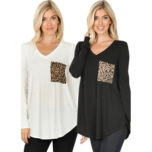 Long Sleeve V-Neck Leopard Print Pocket Top -BLACK / Small -BLACK - Women's Long Sleeve - Snips and Snails Boutique