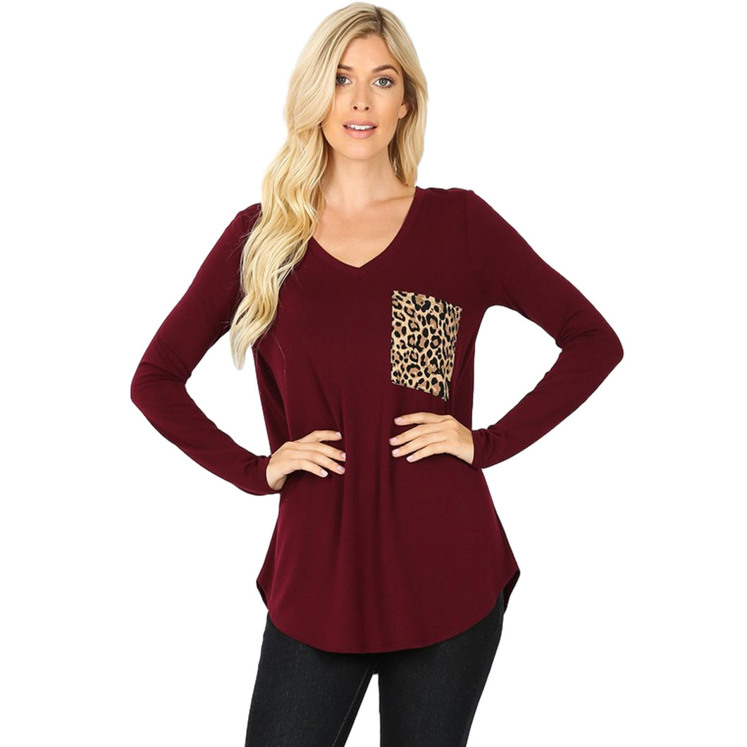 Long Sleeve V-Neck Leopard Print Pocket Top -DK BURGUNDY / Small -DK BURGUNDY - Women's Long Sleeve - Snips and Snails Boutique