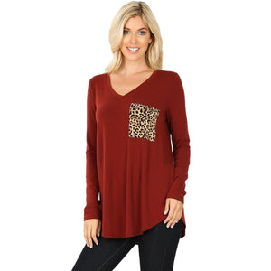 Long Sleeve V-Neck Leopard Print Pocket Top -FIRED BRICK / Small -FIRED BRICK - Women's Long Sleeve - Snips and Snails Boutique