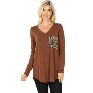 Long Sleeve V-Neck Leopard Print Pocket Top -LT BROWN / Small -LT BROWN - Women's Long Sleeve - Snips and Snails Boutique