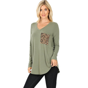 Long Sleeve V-Neck Leopard Print Pocket Top -LT OLIVE / Small -LT OLIVE - Women's Long Sleeve - Snips and Snails Boutique