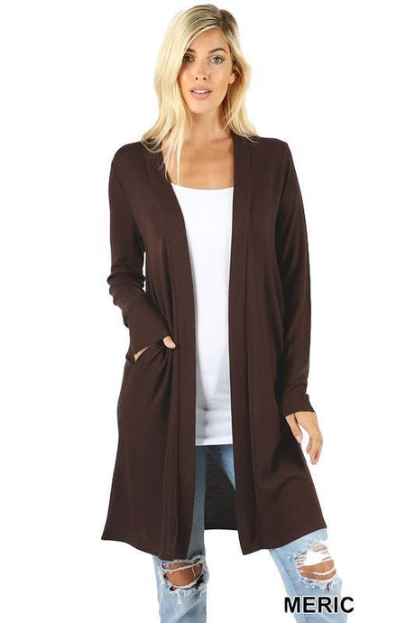 Americano Open Front Longline Sweater Cardigan -Small / Brown -Small - Cardigans - Snips and Snails Boutique