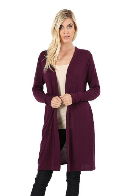 Dark Plum Open Front Longline Sweater Cardigan - - - Cardigans - Snips and Snails Boutique
