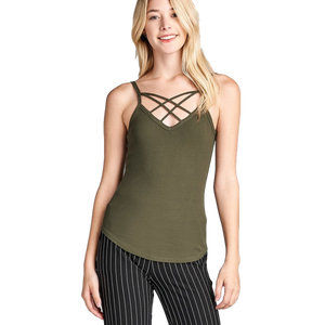 Double Strap Ribbed V-neck Cami Top