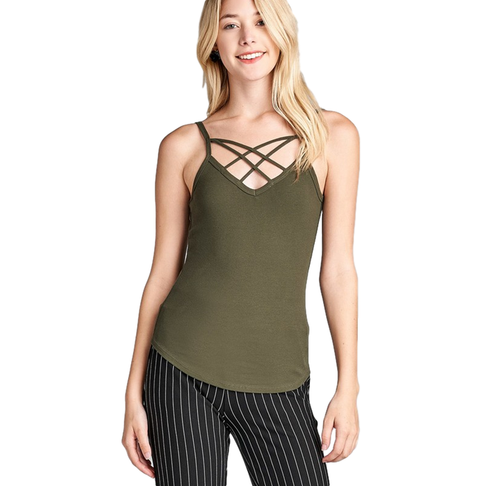 Double Strap Ribbed V-neck Cami Top - - - Women's Sleeveless - Snips and Snails Boutique
