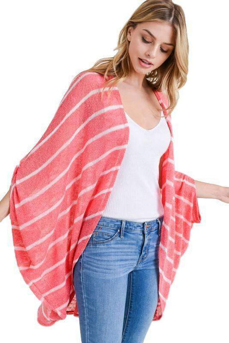 Coral Lightweight Striped Cardigan