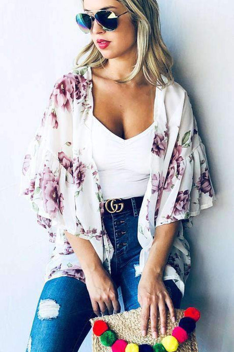 Floral Printed Ruffle Sleeve Summer Kimono - - - Cardigans - Snips and Snails Boutique