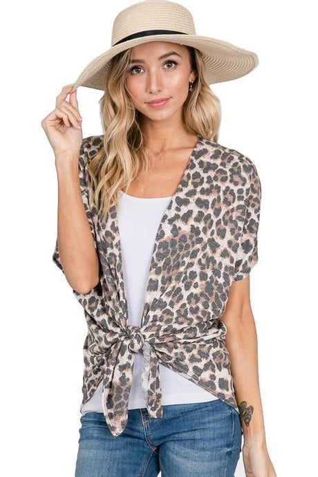 Leopard Animal Print Open Front Cardigan - - - Cardigans - Snips and Snails Boutique
