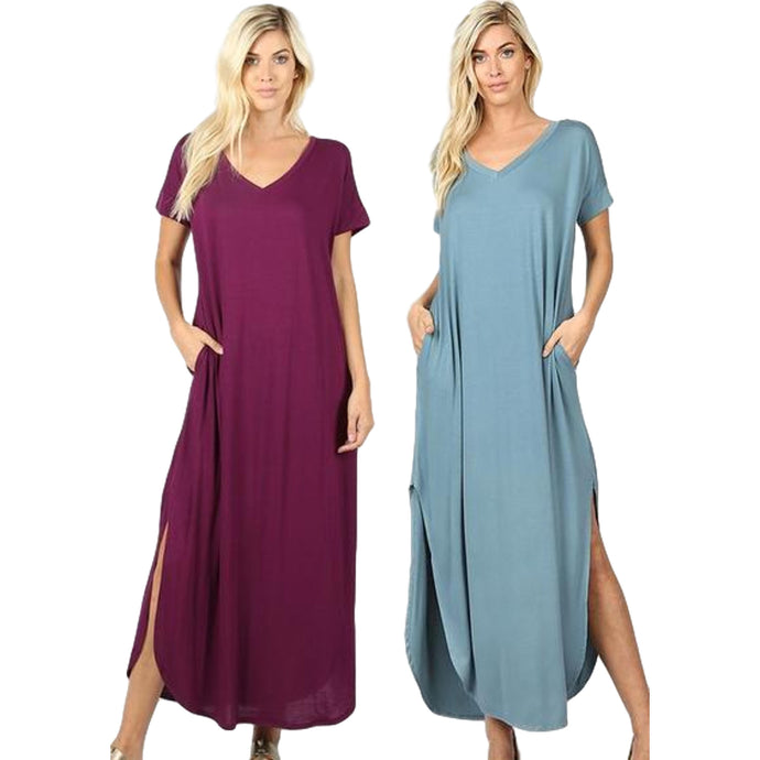 Casual Short Sleeve Relaxed Jersey Slit Long Maxi Dress