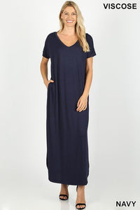 Casual Short Sleeve Jersey Relaxed Slit Long Maxi Dress -Small / Navy -Small - Women's Dresses - Snips and Snails Boutique