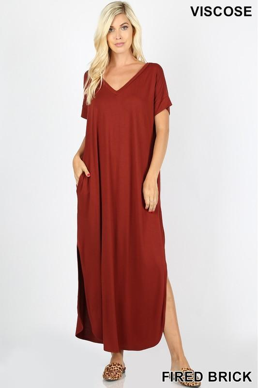 Casual Short Sleeve Jersey Relaxed Slit Long Maxi Dress -Large / Brick -Large - Women's Dresses - Snips and Snails Boutique