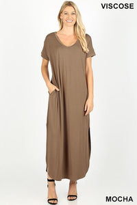 Casual Short Sleeve Jersey Relaxed Slit Long Maxi Dress -Small / Mocha -Small - Women's Dresses - Snips and Snails Boutique