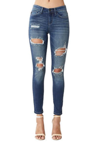 Judy Blue Heavy Destroyed Mid Rise Skinny Jeans