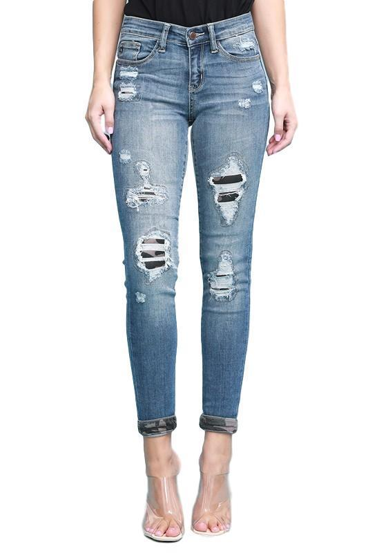 82109 Judy Blue Camouflage Patch Ankle Crop Skinny Denim Jeans - - - Denim - Snips and Snails Boutique
