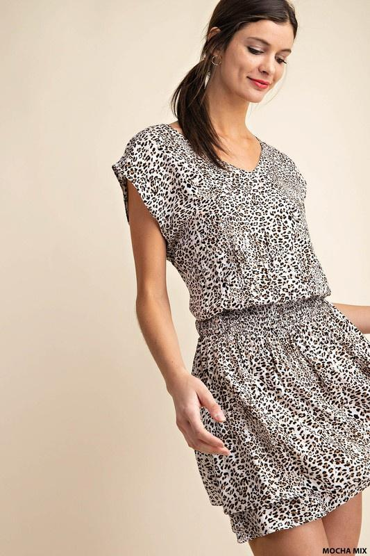Waist Smocking Leopard Dress - - - Women's Dresses - Snips and Snails Boutique