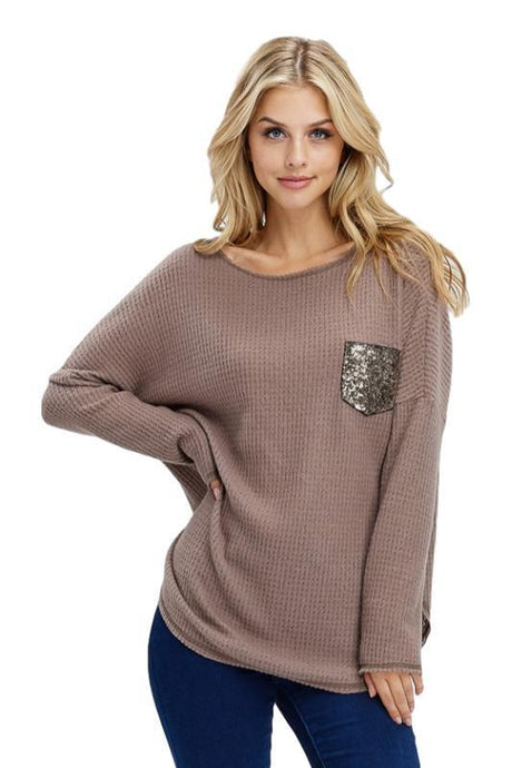 Mocha Waffle Knit Sequin Pocket Long Sleeve Top
