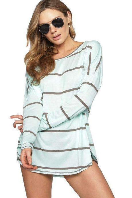 Striped Knit Raw Edge with Detail Stitching Top in Mint