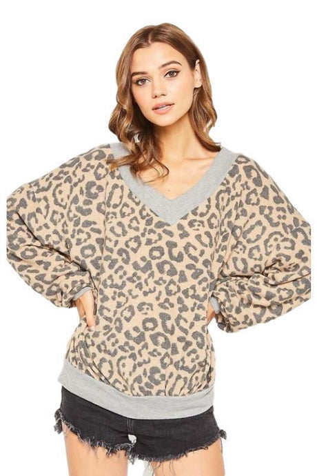 Animal Printed Knit Top with Contrast on Band - - - Women's Sweaters - Snips and Snails Boutique