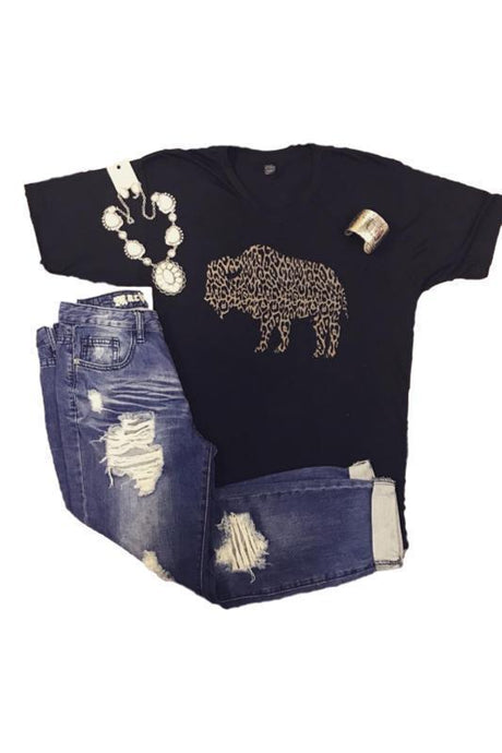 Animal Print Bison Graphic T-Shirt - - - Graphic T-Shirts - Snips and Snails Boutique