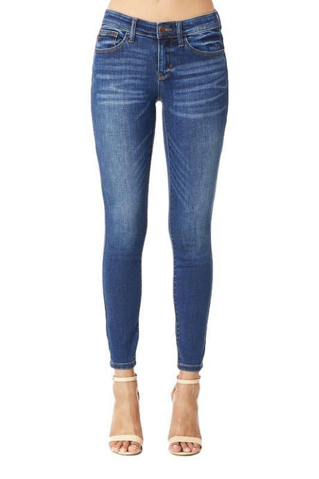 Judy Blue Handsand Mid-Rise Skinny Denim Jeans - - - Denim - Snips and Snails Boutique