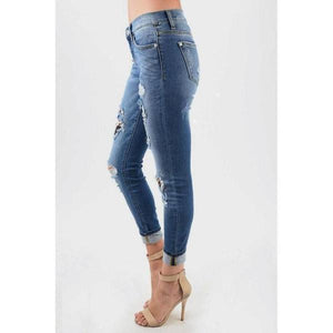 Judy Blue Distressed Denim Skinny Jeans - - - Denim - Snips and Snails Boutique