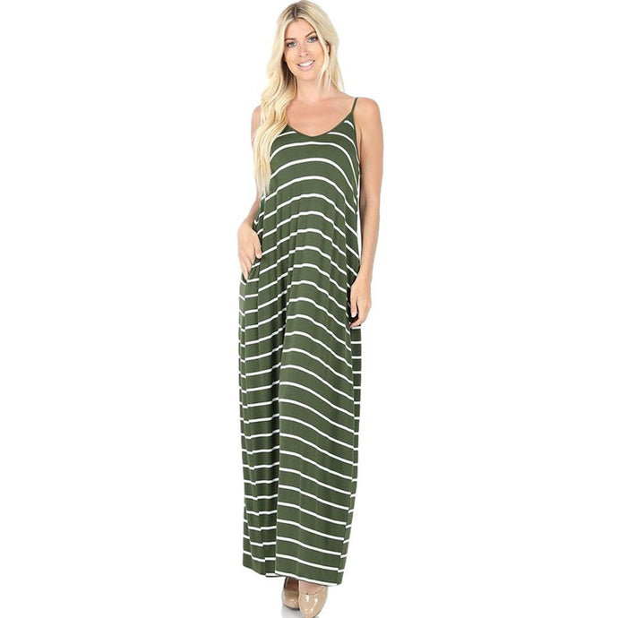 Premium Women's Striped Long Maxi Dress with Pockets