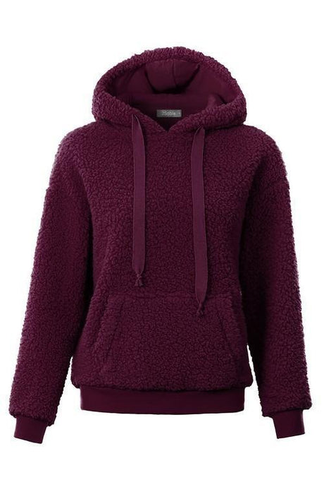 Sherpa Fleece Pile Hoodie Pullover Sweater -Wine / Small -Wine - Women's Sweaters - Snips and Snails Boutique