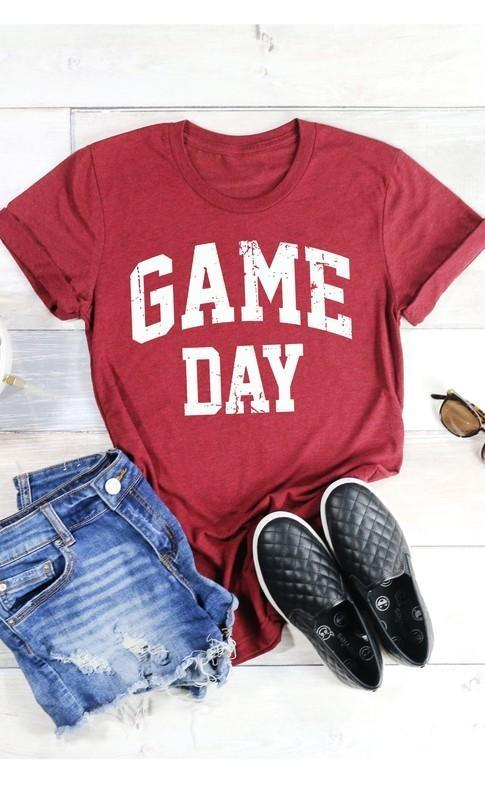 Game Day Graphic T-Shirt -Maroon / Small -Maroon - Graphic T-Shirts - Snips and Snails Boutique