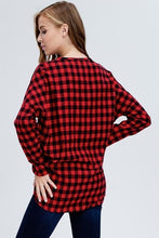 Load image into Gallery viewer, Red Buffalo Check Plaid Button Down Knit Top