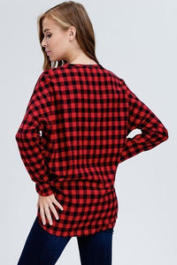 Red Buffalo Check Plaid Button Down Knit Top