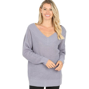 Long Sleeve Wide Double V-Neck Waffle Sweater -Ash Lavendar / Small -Ash Lavendar - Women's Sweaters - Snips and Snails Boutique