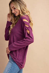 Cutout Cold Shoulder Long Sleeve Top - - - Women's Sweaters - Snips and Snails Boutique