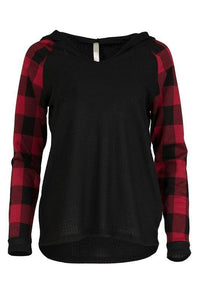 Buffalo Plaid Sleeve Hooded Top - - - Women's Long Sleeve - Snips and Snails Boutique
