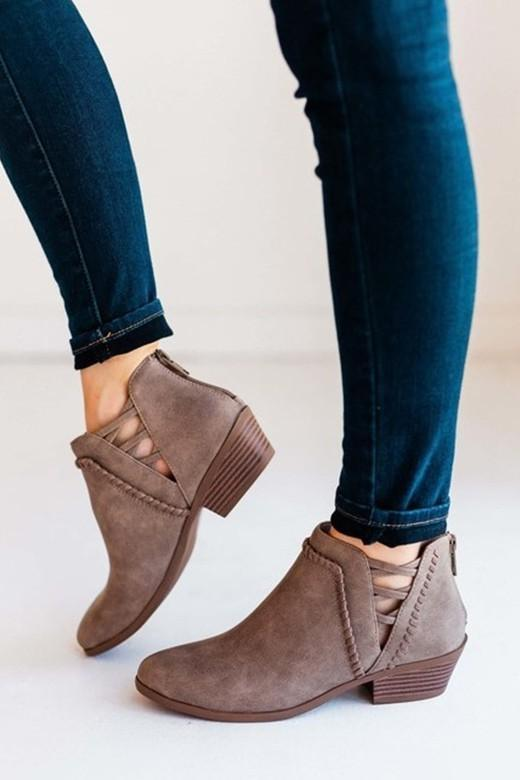 Taupe Best Selling Crisscross Booties - - - Shoes - Snips and Snails Boutique