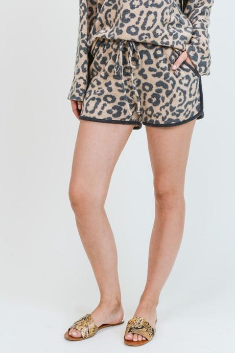 Cashmere Brushed Leopard Shorts - - - Women's Shorts - Snips and Snails Boutique