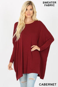 Oversize Fabric Round Neck Poncho Sweater - - - Women's Long Sleeve - Snips and Snails Boutique