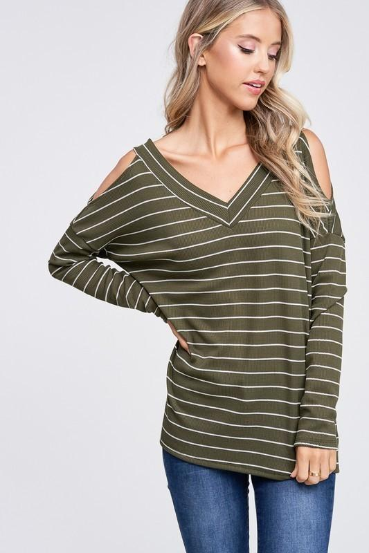 Cold Shoulder Striped Knit Top - - - Women's Long Sleeve - Snips and Snails Boutique