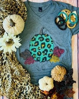 Leopard Pumpkin Harvest Graphic T-Shirt - - - Graphic T-Shirts - Snips and Snails Boutique
