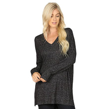 Load image into Gallery viewer, Brushed Melange Sweater V-Neck Hi Low Hem Tunic -Charcoal / Small -Charcoal - Women's Long Sleeve - Snips and Snails Boutique