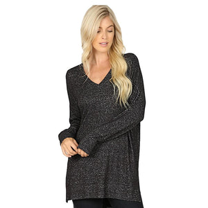 Brushed Melange Sweater V-Neck Hi Low Hem Tunic -Charcoal / Small -Charcoal - Women's Long Sleeve - Snips and Snails Boutique