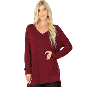 Brushed Melange Sweater V-Neck Hi Low Hem Tunic -DK Burgundy / Small -DK Burgundy - Women's Long Sleeve - Snips and Snails Boutique
