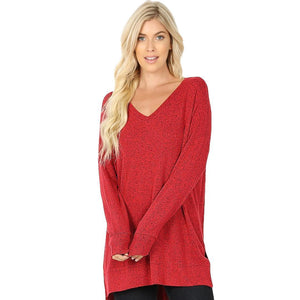 Brushed Melange Sweater V-Neck Hi Low Hem Tunic -DK Red / Small -DK Red - Women's Long Sleeve - Snips and Snails Boutique
