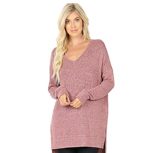 Brushed Melange Sweater V-Neck Hi Low Hem Tunic -Dusty Rose / Small -Dusty Rose - Women's Long Sleeve - Snips and Snails Boutique