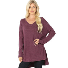Load image into Gallery viewer, Brushed Melange Sweater V-Neck Hi Low Hem Tunic -Eggplant / Small -Eggplant - Women's Long Sleeve - Snips and Snails Boutique