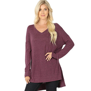 Brushed Melange Sweater V-Neck Hi Low Hem Tunic -Eggplant / Small -Eggplant - Women's Long Sleeve - Snips and Snails Boutique